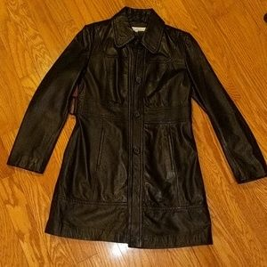 Kenneth Cole Leather Coat -- Size Large